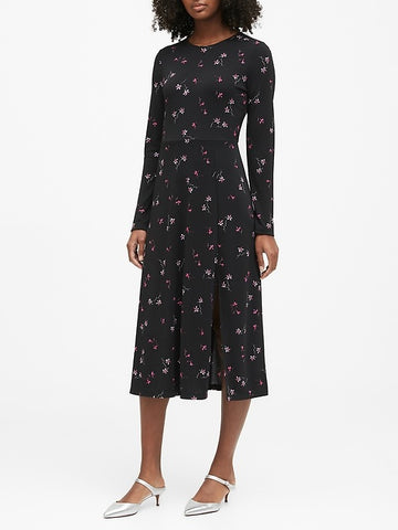 Print Fit-and-Flare Dress in Black Floral