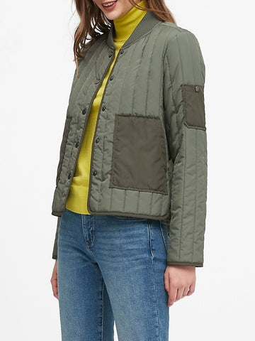 Water-Resistant Quilted Jacket in Flight Jacket Green