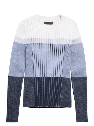 Color-Blocked Sweater Top in Navy