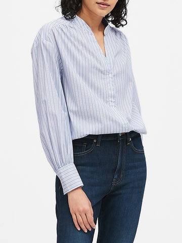 Relaxed Puff-Sleeve Shirt in Blue Stripe