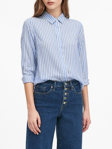 Parker Tunic-Fit Shirt in Bold Blue Stripe