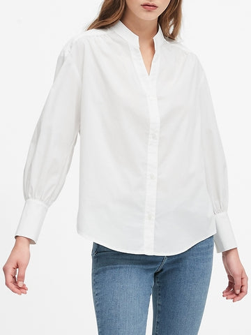 Oversized Ruched Shirt in White