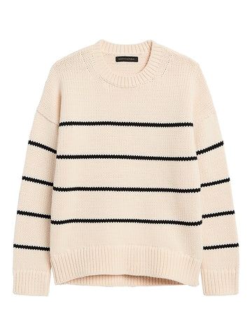 Stripe Chunky Oversized Sweater in Black & White