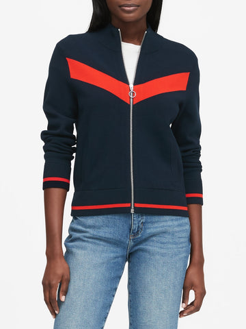 Chevron Sweater Track Jacket in Navy
