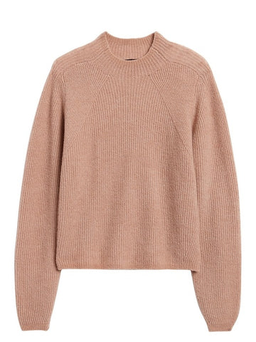 Aire Cropped Puff-Sleeve Sweater in Blush Pink