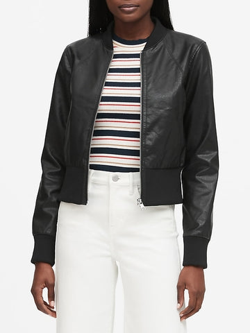 Vegan Leather Cropped Bomber in Black
