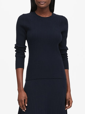 Ribbed Sweater Top in Navy