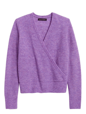 Aire Cropped Wrap-Effect Sweater in Purple Heather
