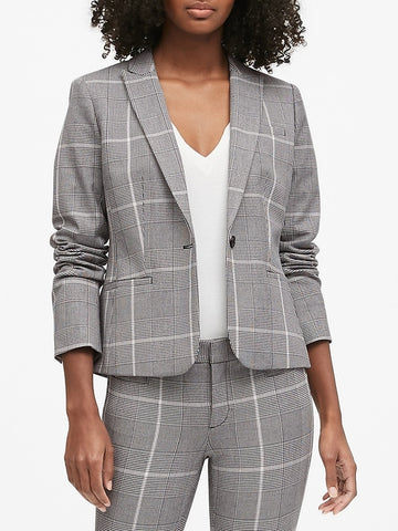 Classic-Fit Bi-Stretch Blazer in Charcoal Gray Glenplaid