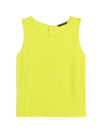 Cropped EcoVero Button-Back Tank in Neon Yellow