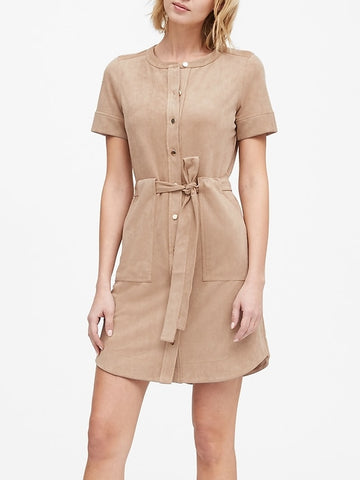 Vegan Suede Shirt Dress in Classic Trench Beige