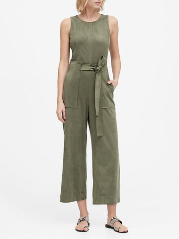 Vegan Suede Cropped Wide-Leg Jumpsuit in Sage Green
