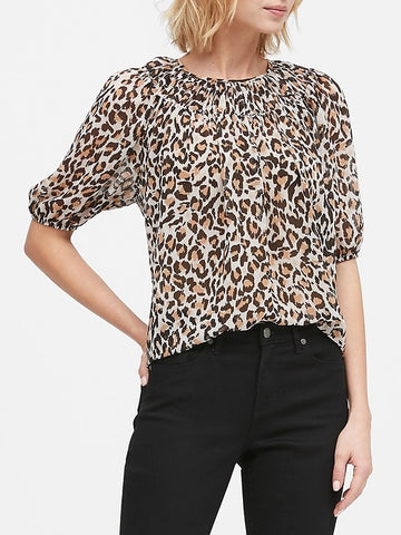 Ruched-Neck Top in Leopard Print