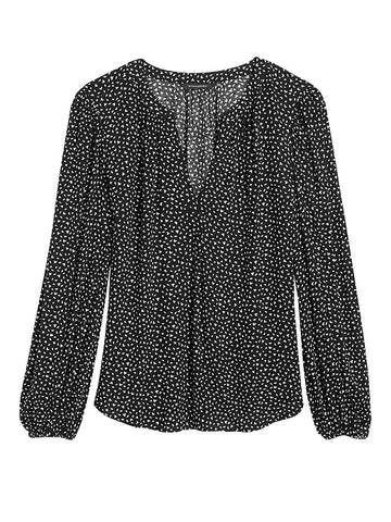 EcoVero Puff-Sleeve Blouse in Black Leaf Print