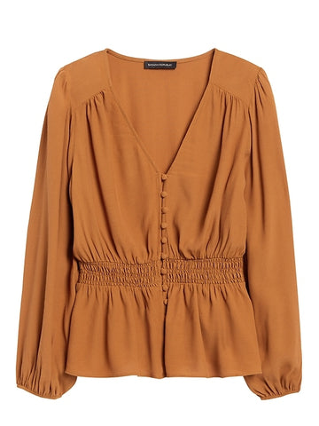 Boho Peplum Top in Tobacco Brown
