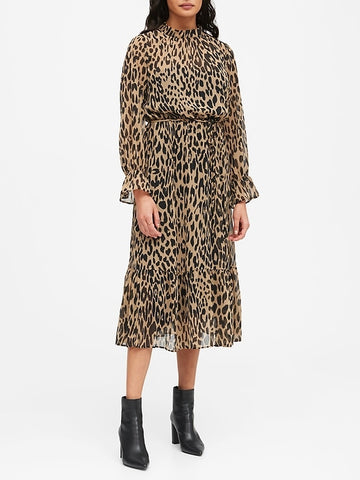 Print Sheer Midi Dress in Leopard Print