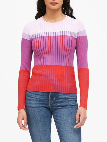 Color-Blocked Sweater Top in Raspberry Red