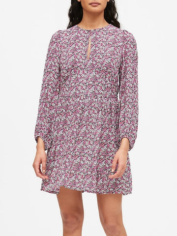 Keyhole Mini Dress in Pink Ditsy Floral