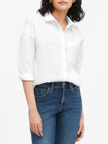 Oversized Poplin Shirt in White