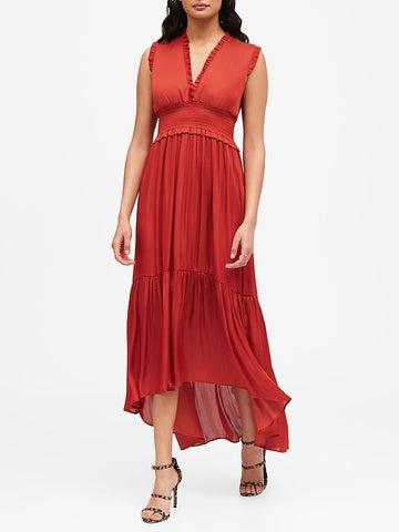 Soft Satin Maxi Dress in Rustic Red