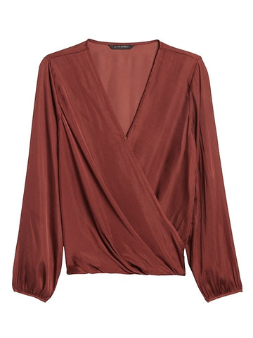Soft Satin Wrap-Effect Top in Rust Brown