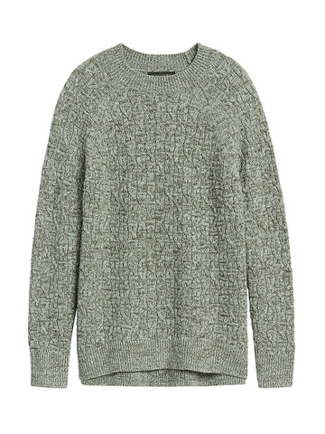 Marled Cable-Knit Sweater in Sage Green