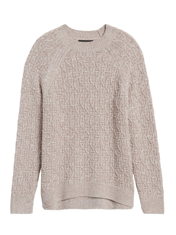 Marled Cable-Knit Sweater in Vanilla Mousse