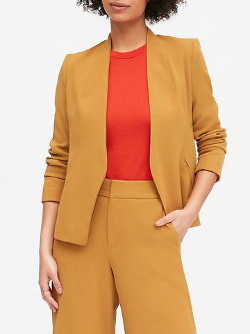 Collarless Blazer in Golden Yellow Mustard