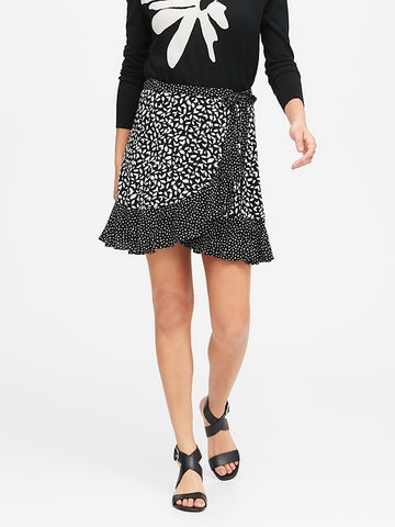 Ruffle Wrap Mini Skirt in Black Floral
