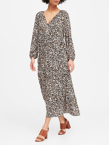 Leopard Tiered Maxi Dress in Leopard Print