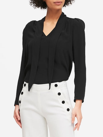 Tie-Neck Top in Black