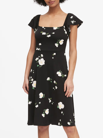 Print Square-Neck Midi Dress in Black Floral