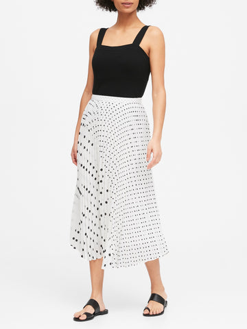 Polka Dot Pleated Midi Skirt in White & Black Polka Dot