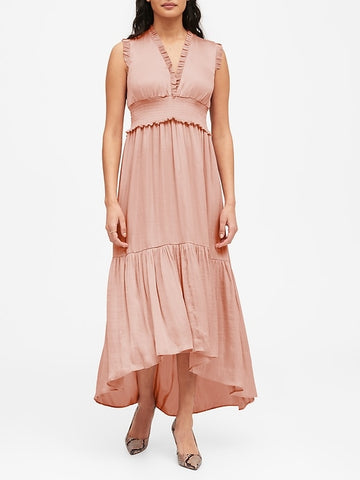 Soft Satin Maxi Dress in Blush Pink