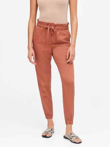 TENCEL Paperbag Jogger in Pink Terracotta