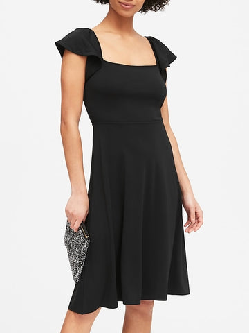 Square-Neck Midi Dress in Black