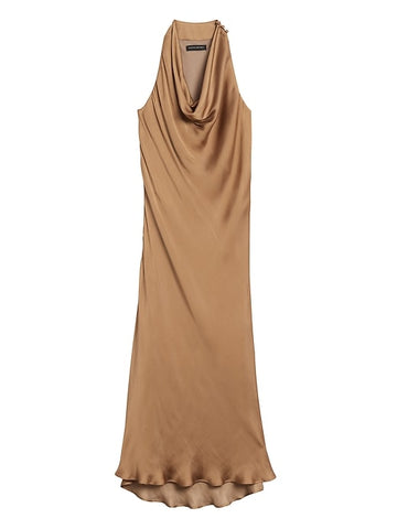 Satin Cowl-Neck Slip Dress in Bold Bronze