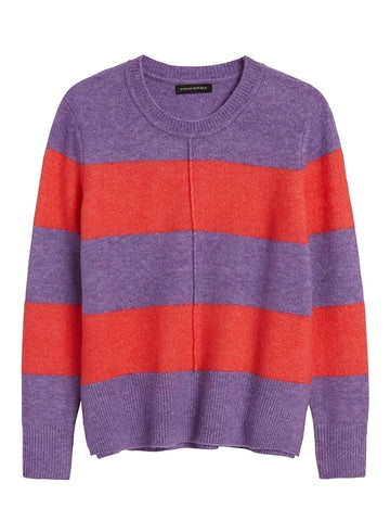 Merino-Blend Boxy Sweater in Red Stripe