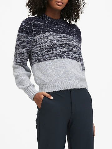Cropped Ombre Sweater in Navy Stripe