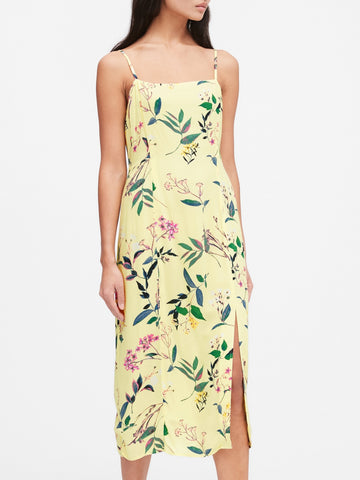 EcoVero Square-Neck Midi Dress in Yellow Floral