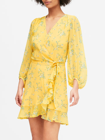 Ruffle-Wrap Dress in Yellow Floral
