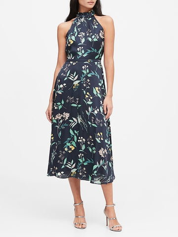 Floral Soft Satin Midi Dress in Navy Floral