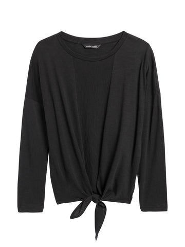 Cropped Tie-Front T-Shirt in Black