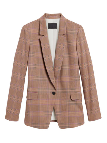 Plaid Soft Blazer in Camel