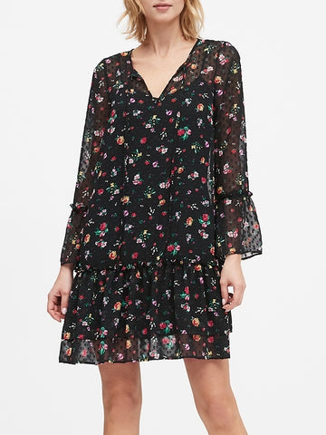Floral Clip-Dot Drop-Waist Dress in Black Floral