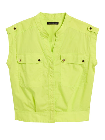 Boxy Utility Top in Neon Green