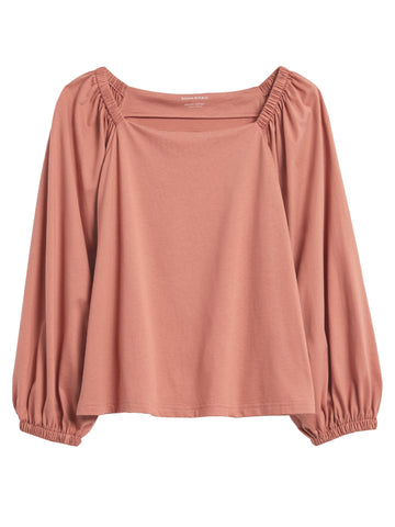 SUPIMA Cotton Peasant Top in Sunkissed Pink