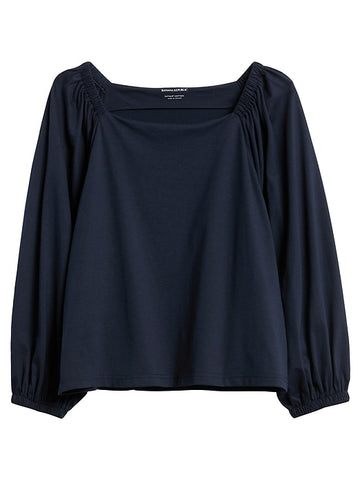 SUPIMA Cotton Peasant Top in Navy