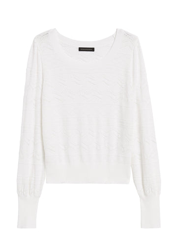 Pointelle Cropped Sweater in Ivory White