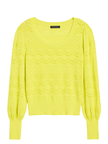 Pointelle Cropped Sweater in Citron